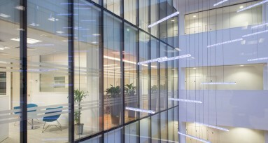 Commercial Interior Photography of glass internal courtyard