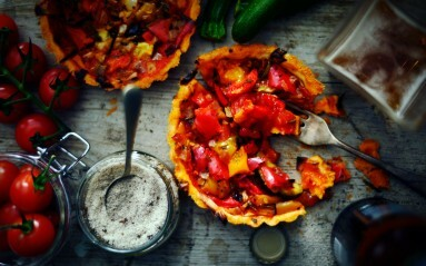 Food photography Example - overhead styled photograph of tomato and pepper tarts