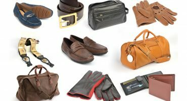 Product photographs of shoes, bags, wallets and gloves shown on a white background
